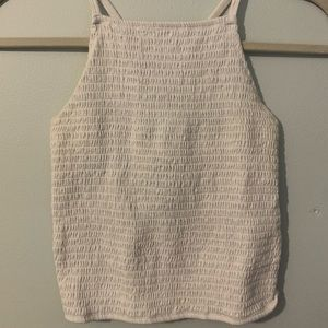 white rusched/smocked/scrunched halter tank top